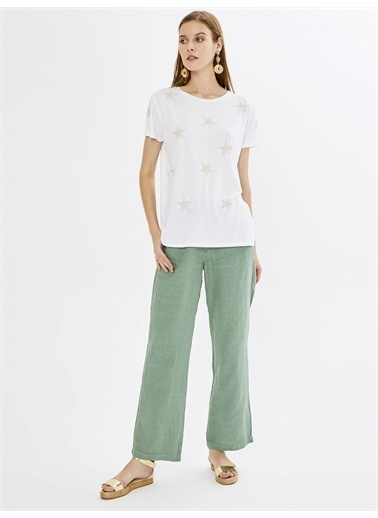 Xint XINT Yuvarlak Yaka Nakışlı %100 Pamuk Rahat Kesim Tişört Beyaz